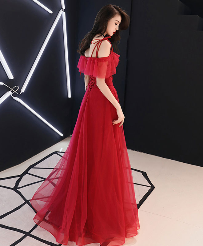 Red tulle lace long prom dress red lace formal dress