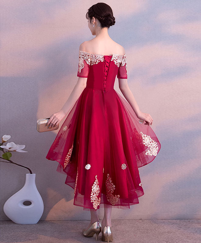Burgundy tulle high low prom dress, burgundy lace bridesmaid dress