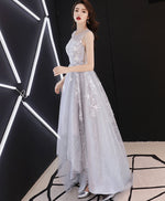 Gray tulle lace high low prom dress, gray tulle evening dress