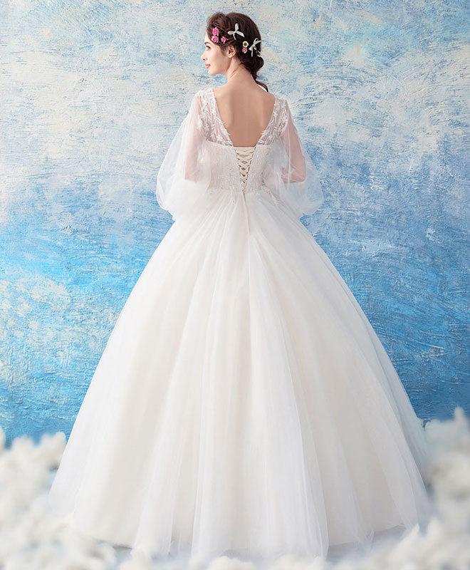White tulle lace round neck long prom dress, white tulle evening dress