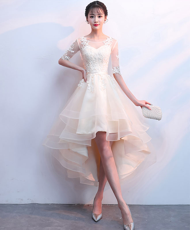 champagne tulle lace prom dress, champagne homecoming dress