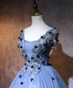 Unique blue lace applique cover sleeves long prom dress, sweet 16 dress