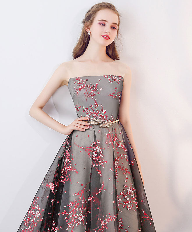 Unique round neck satin short prom dress, homecoming dress