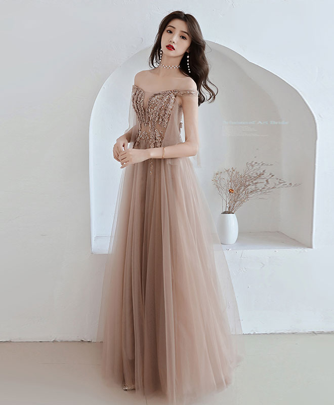 2f4f0e8c4cea Champagne tulle off shoulder long prom dress, champagne evening dress