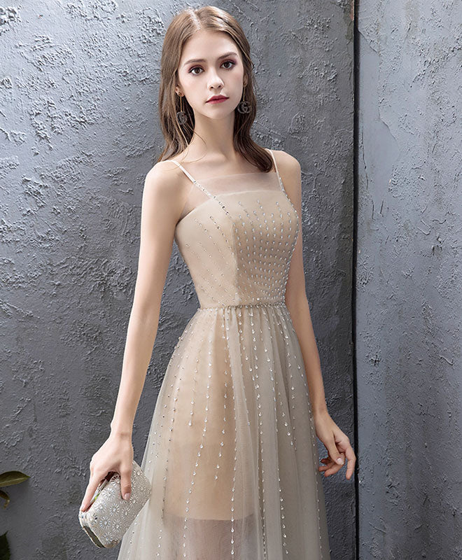 Champagne tulle high low prom dress, champagne evening dress