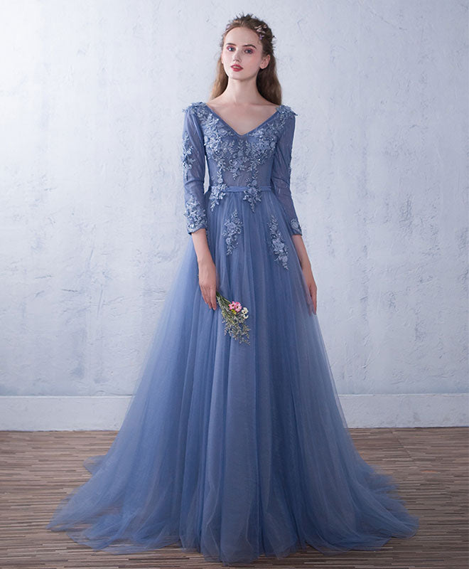 Blue tulle v neck lace long prom dress, blue bridesmaid dress