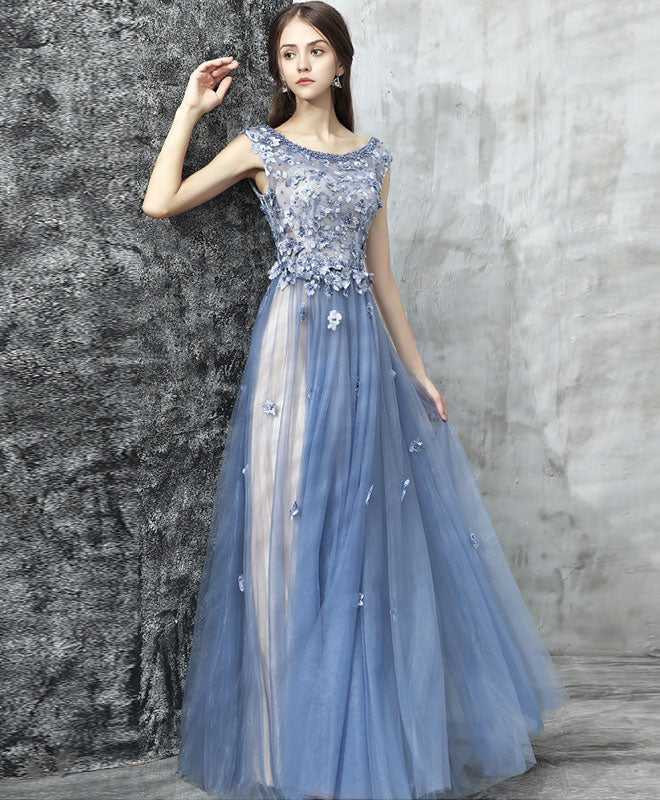 Blue lace applique beads tulle long prom dress, lace evening dress ...