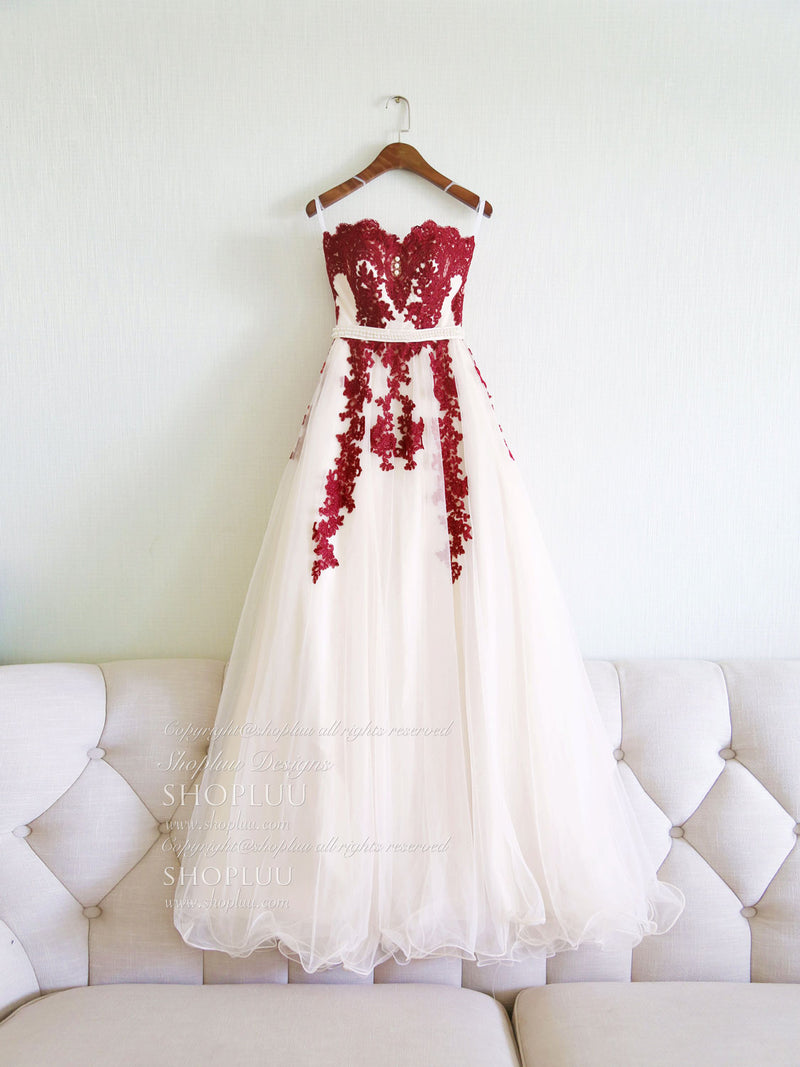 Unique sweetheart burgundy lace tulle long prom dress, burgundy evening dress