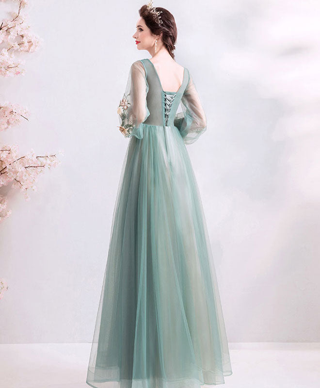 Green round neck tulle lace long prom dress, green bridesmaid dress