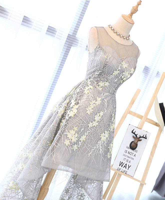 Unique gray high low prom dress, gray homecoming dress