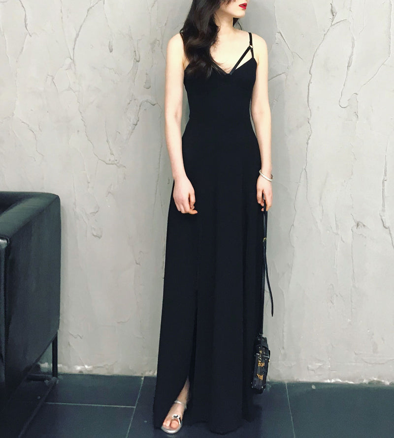 Black chiffon long prom dress, black chiffon summer dress