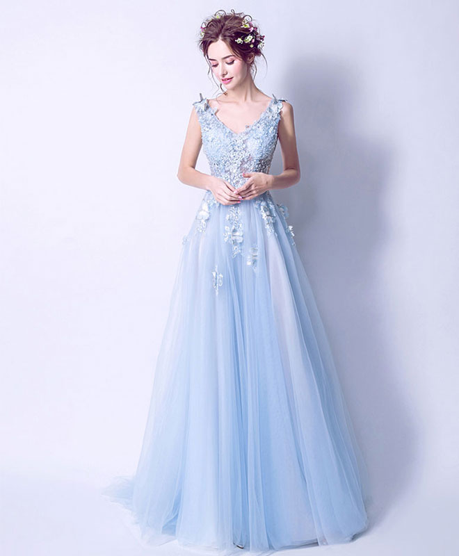 Blue tulle lace long prom dress, blue tulle evening dress