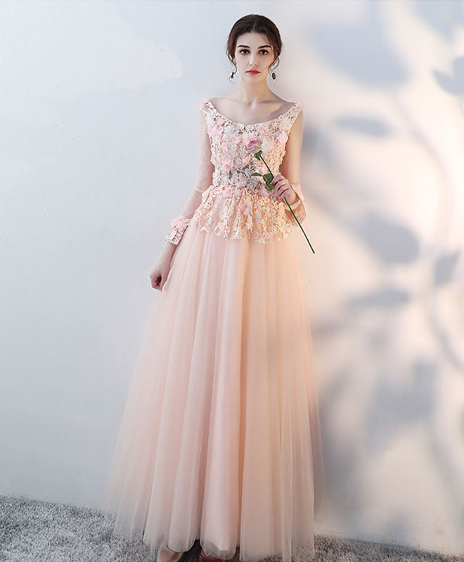 Pink round neck tulle lace long prom dress, tulle evening dress