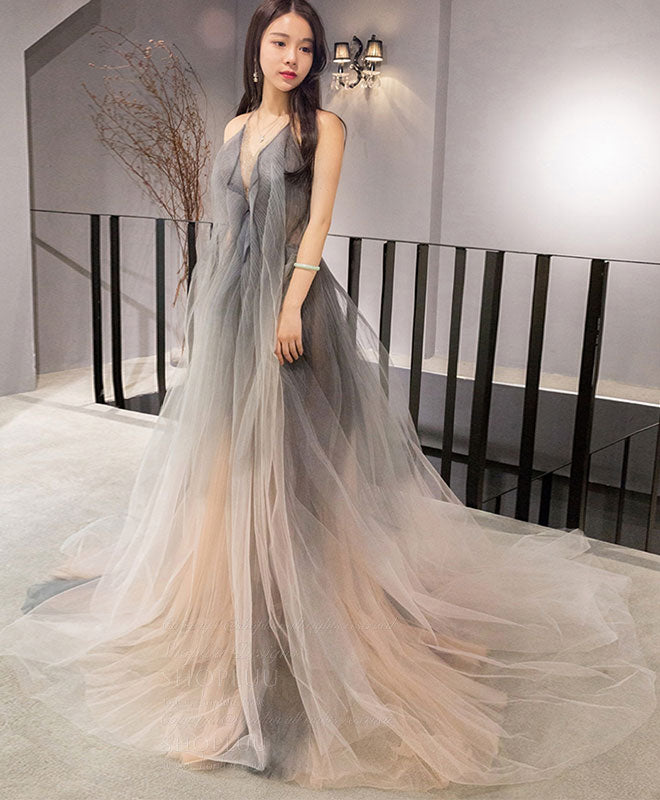 Gray v neck tulle long prom dress, gray tulle evening dress