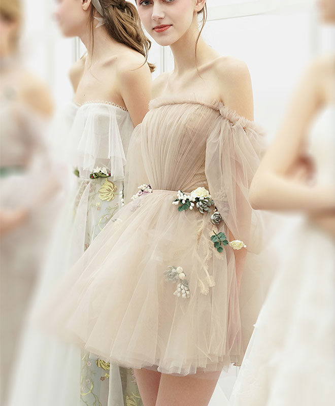 Cute champagne tulle short prom dress, champagne homecoming dress