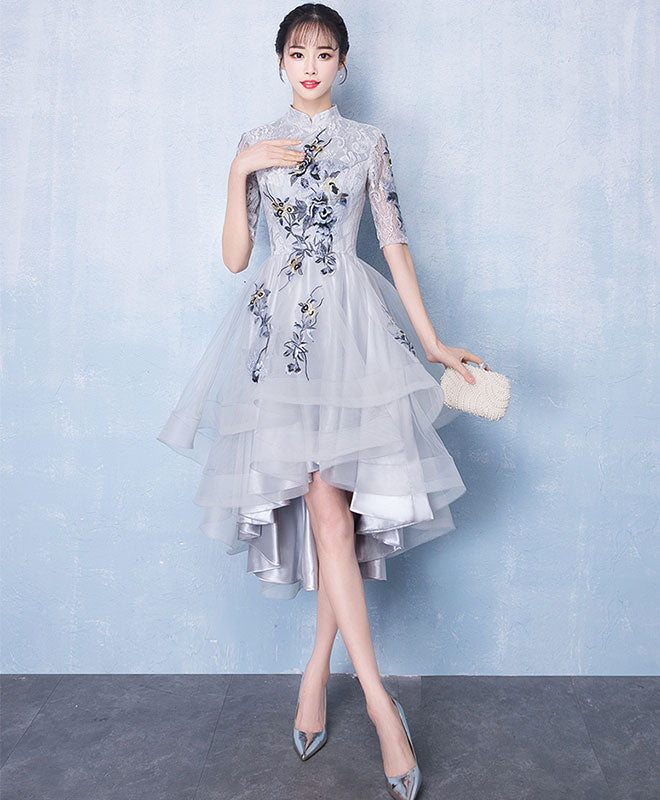 Cute gray tulle lace applique high low prom dress, gray homecoming dress