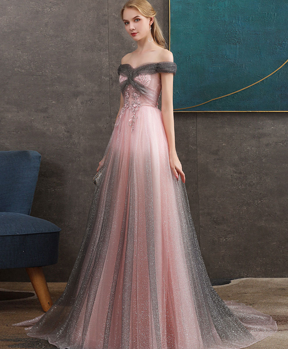 Pink tulle sequin long prom dress pink tulle sequin formal dress