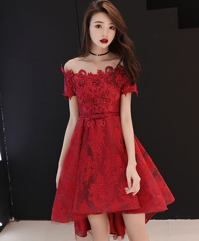 Burgundy lace short prom dress, burgundy lace bridesmaid dress