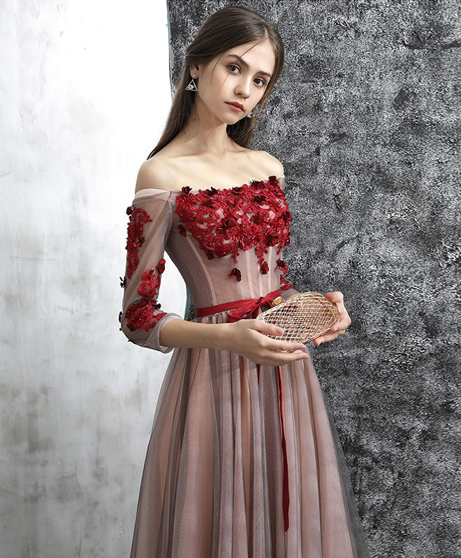 Unique red lace applique tulle long prom dress, evening dress