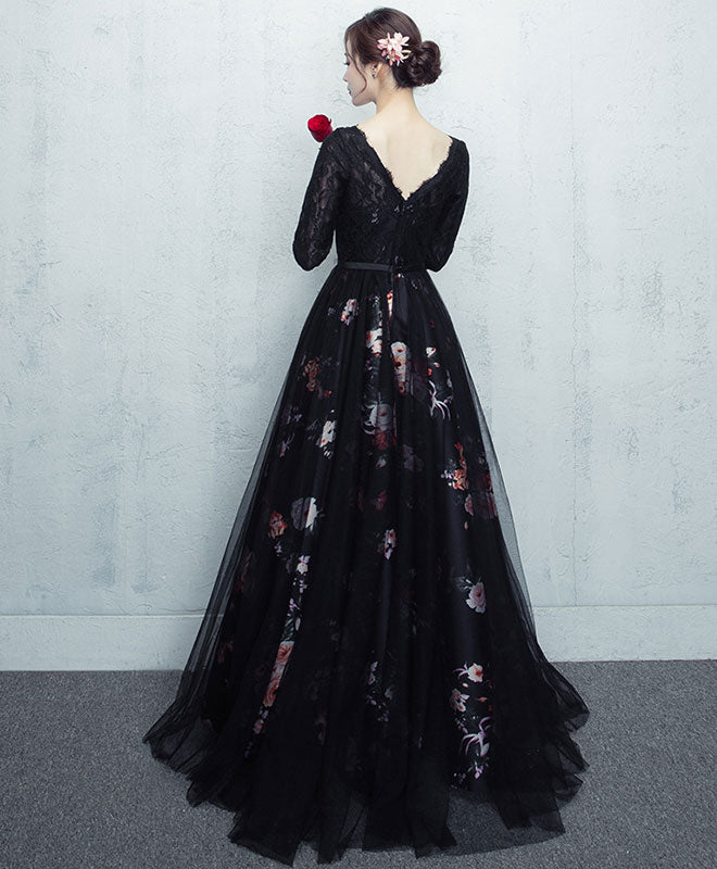 Black tulle lace long prom dress, black tulle lace evening dress