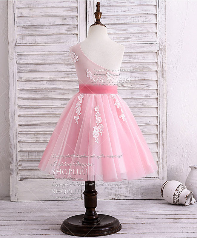 Pink tulle lace applique short flower girl dress