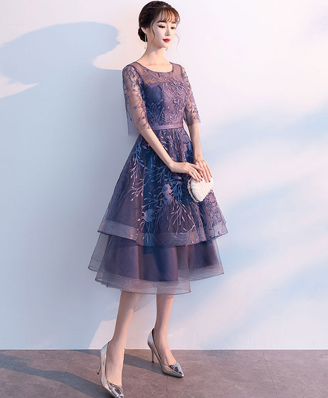 purple tulle lace short prom dress cocktail dress
