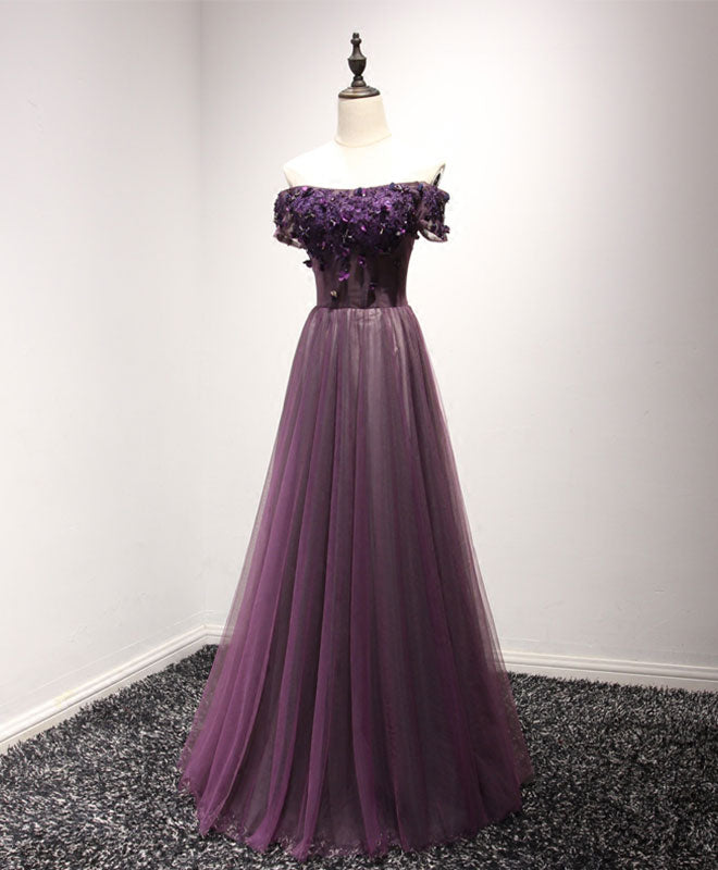 e38777f74c9d6 Purple tulle lace off shoulder long prom dress, purple evening dress