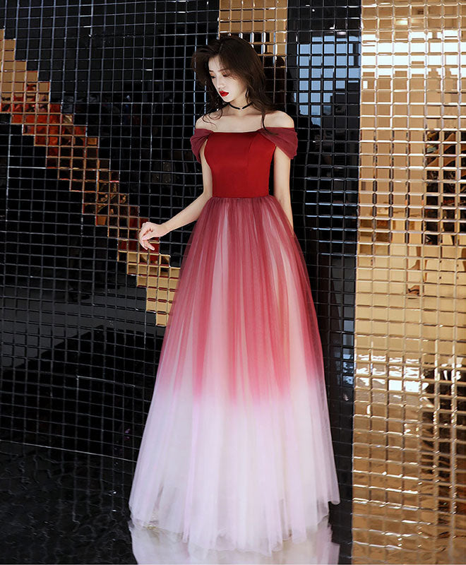 Unique burgundy off shoulder tulle long prom dress, burgundy evening dress