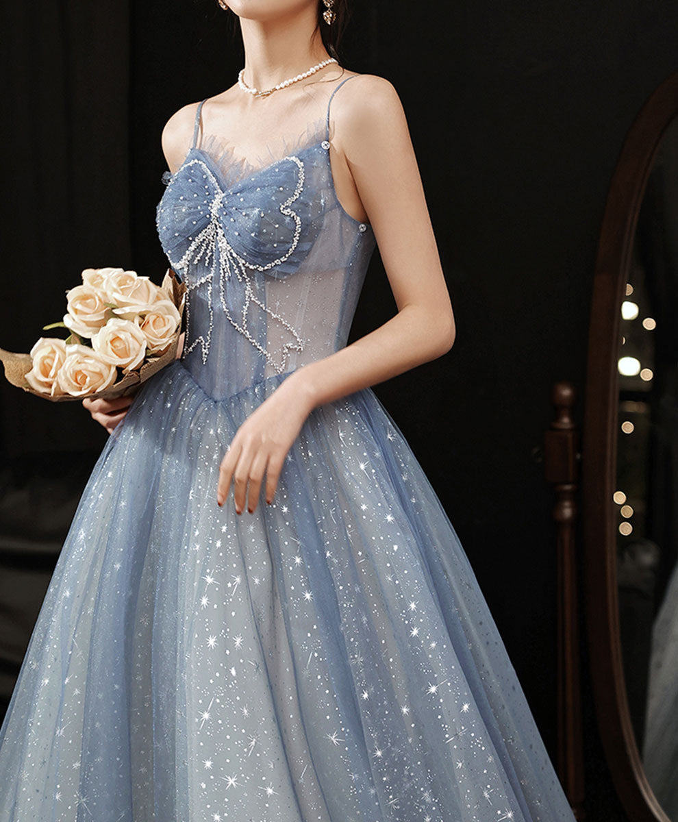 Blue tulle beads long prom dress blue tulle lace sweet 16 dress