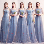 Blue tulle long prom dress blue tulle bridesmaid dress