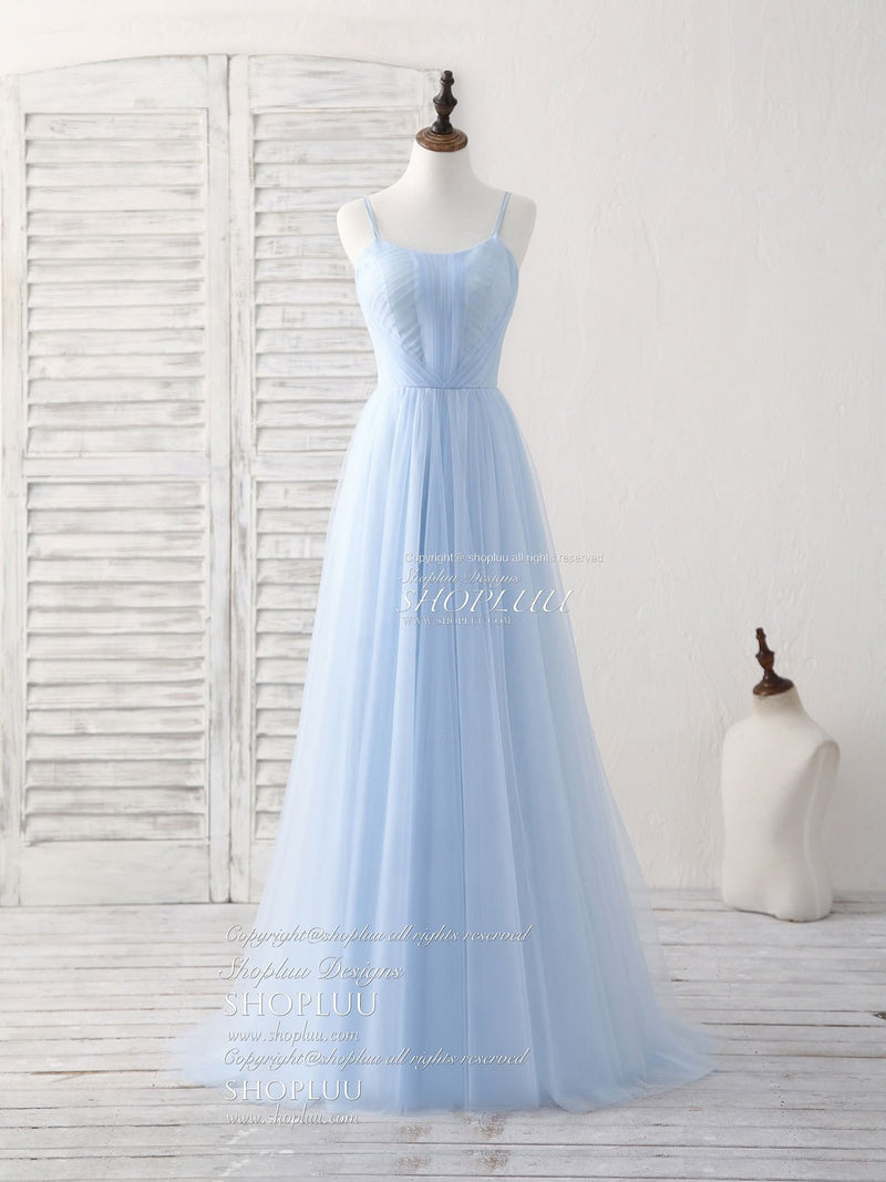 Champagne A-line tulle long prom dress champagne bridesmaid dress