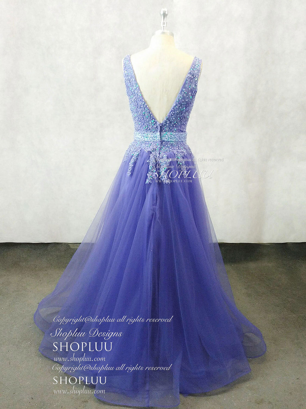 Unique v neck tulle lace applique long prom dress, tulle evening dress