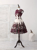 Burgundy lace tulle short prom dress burgundy bridesmaid dress
