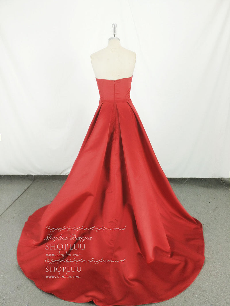 Simple red satin long prom dress, red long evening dress