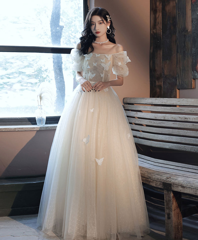 Light champagne tulle long prom dress light champagne evening dress