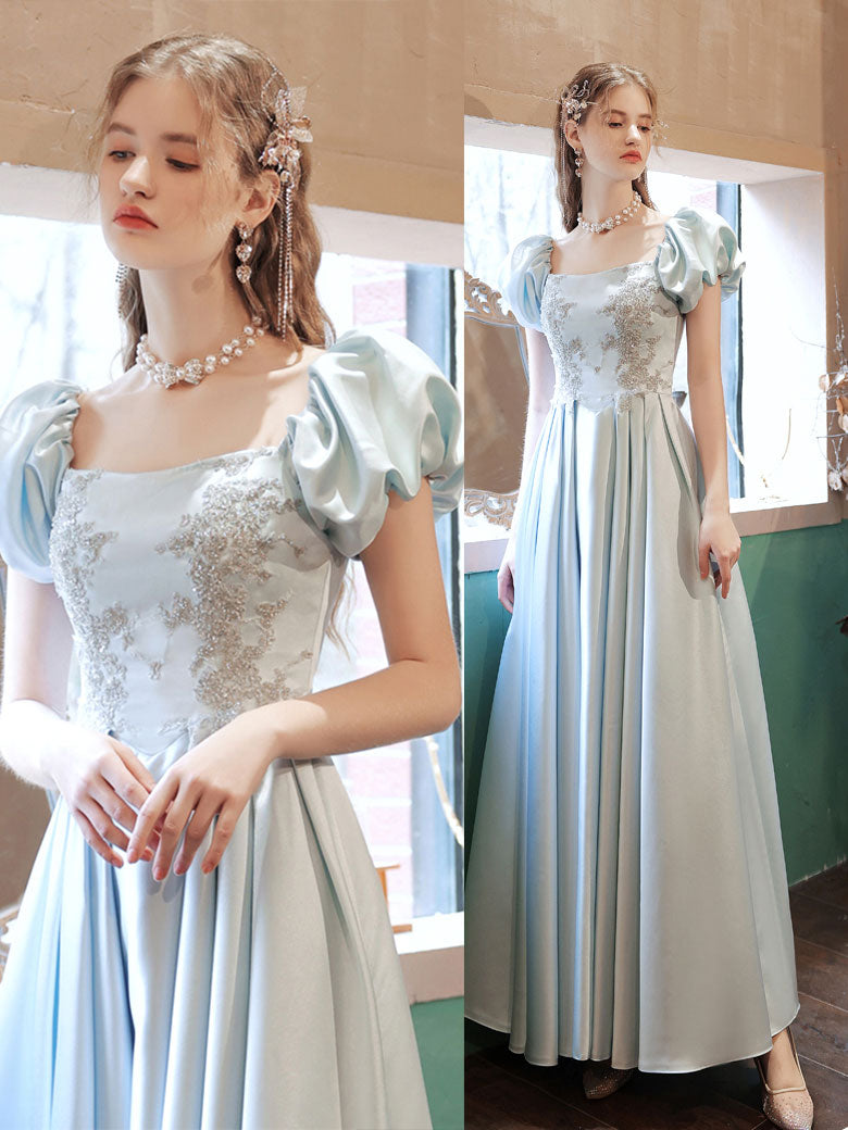 Light blue satin lace long prom dress blue lace formal dress