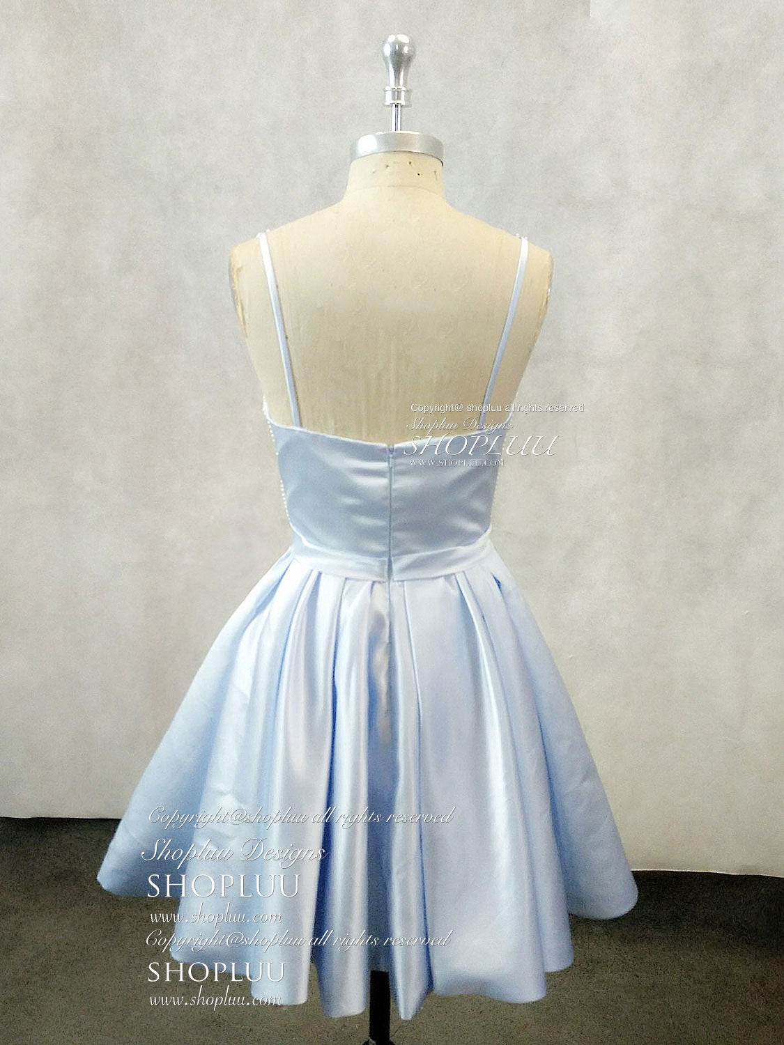 Blue v neck satin lace applique short prom dress, blue homecoming dress