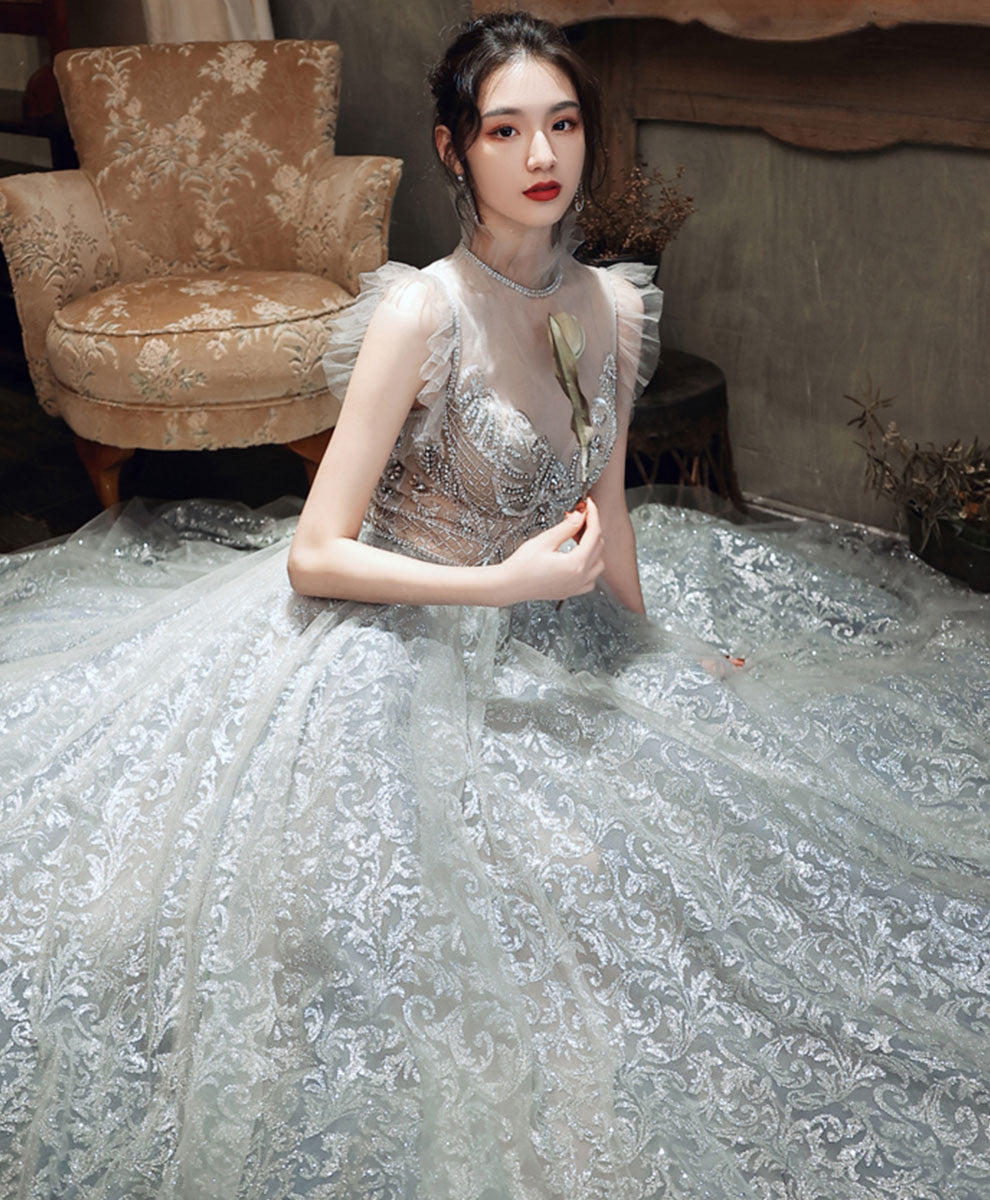 Gray high neck tulle beads long prom dress gray formal dress