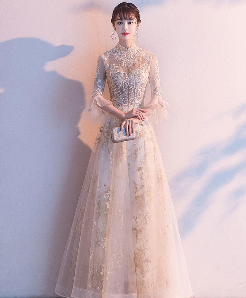 Champagne A line tulle lace long prom dress champagne formal dress