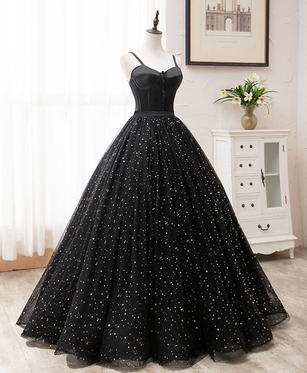 Black sweetheart tulle long prom dress black tulle formal dress