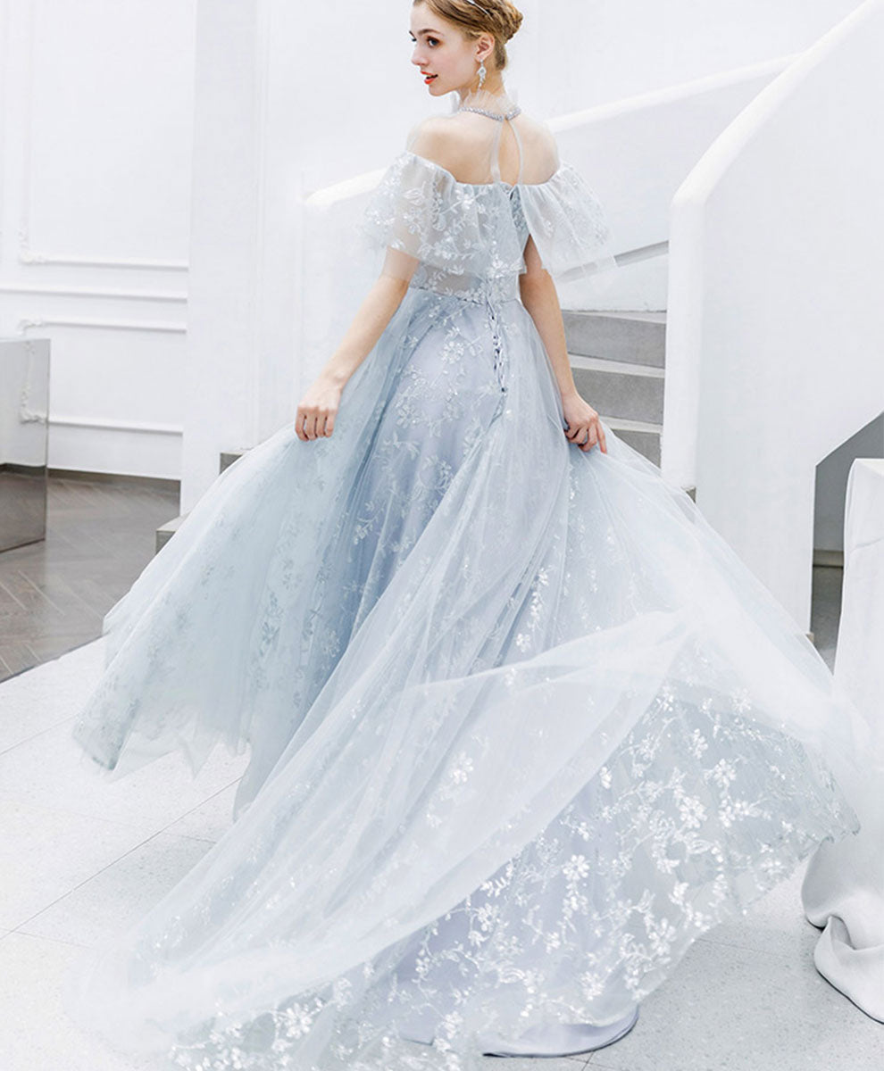 Light blue tulle lace long prom dress blue tulle lace evening dress