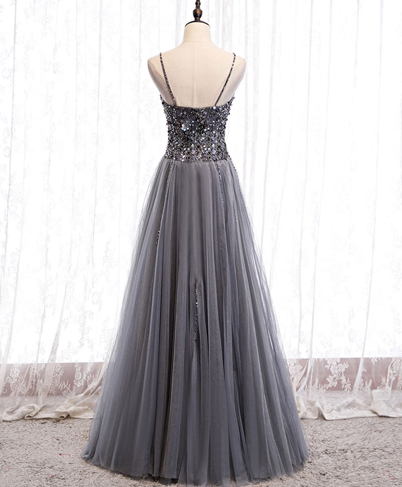 Gray tulle sequin long prom dress gray tulle formal dress gray formal dress