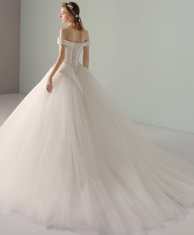Wedding Dress White Vs Off White: Simple White Tulle Off Shoulder Long Wedding Dresses
