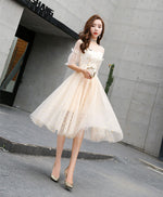 Champagne tulle short prom dress, champagne tulle short homecoming dress
