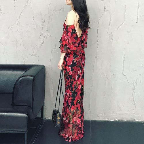 Elegant floral chiffon long beach dress, fashion dress, summer dress