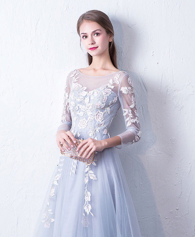 Gray blue cute round neck lace applique tulle long prom dress, evneing dress