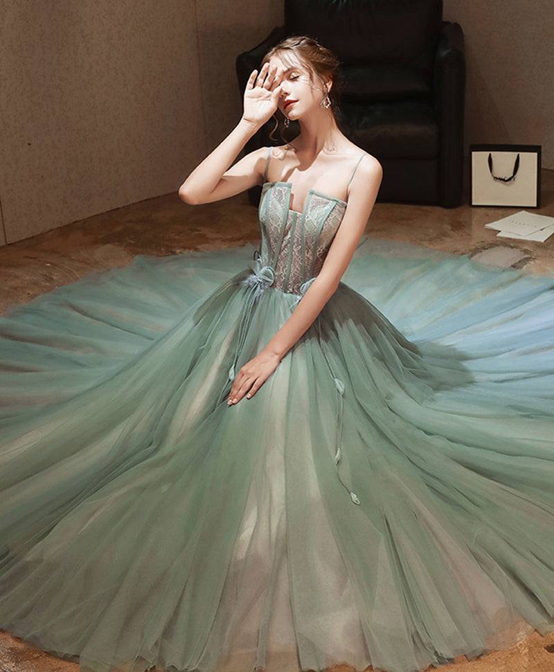 Green tulle lace long prom dress green lace tulle formal dress