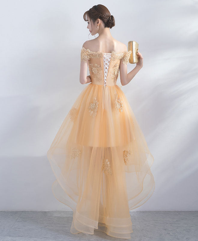 Champagne tulle lace short prom dress, champagne evening dress
