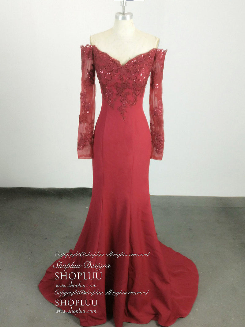 Burgundy chiffon lace long prom dress, burgundy evening dress