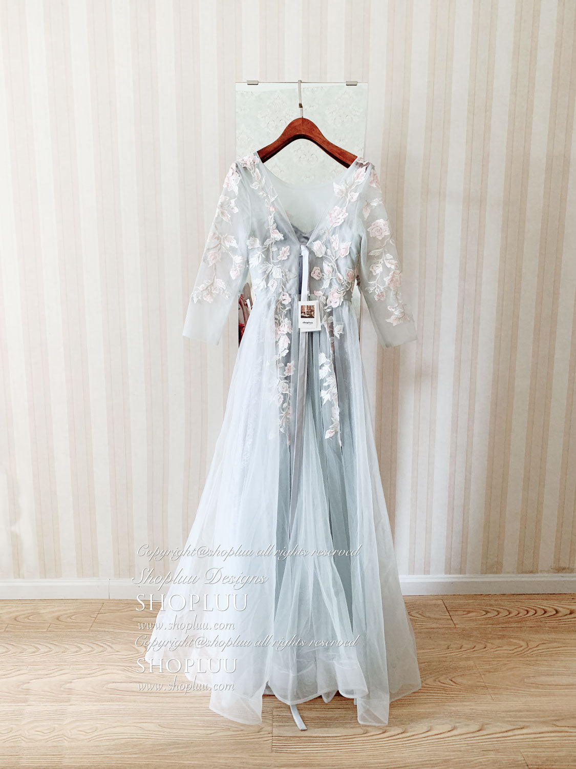 Gray round neck tulle lace applique long prom dress, tulle evening dress